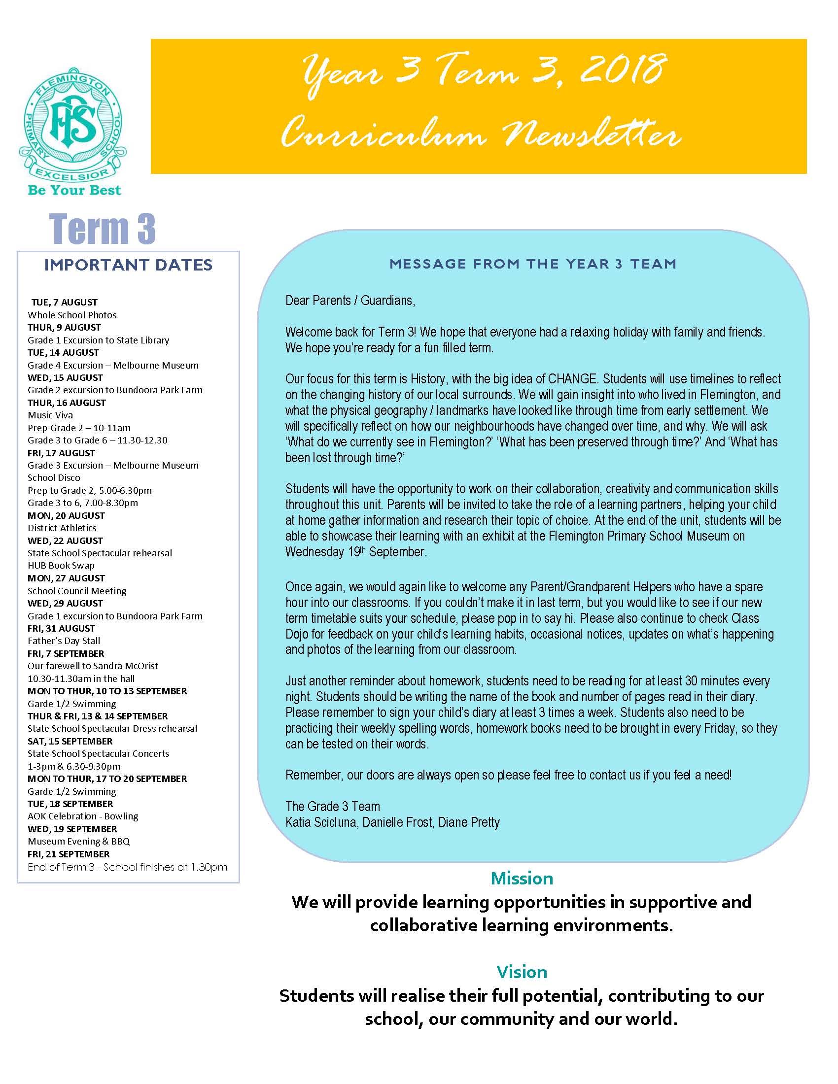Year 3 Newsletter 1