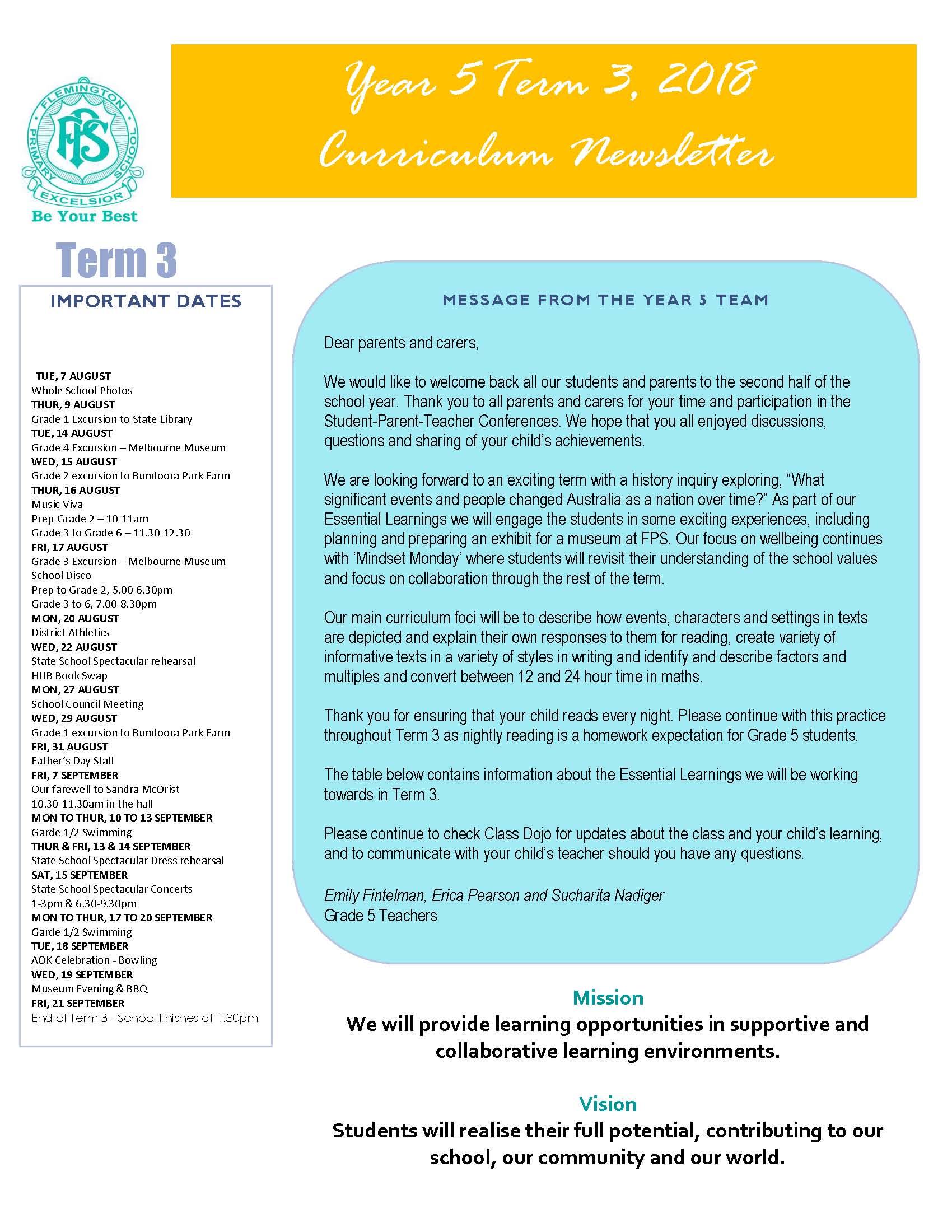 Year 5 Newsletter 1