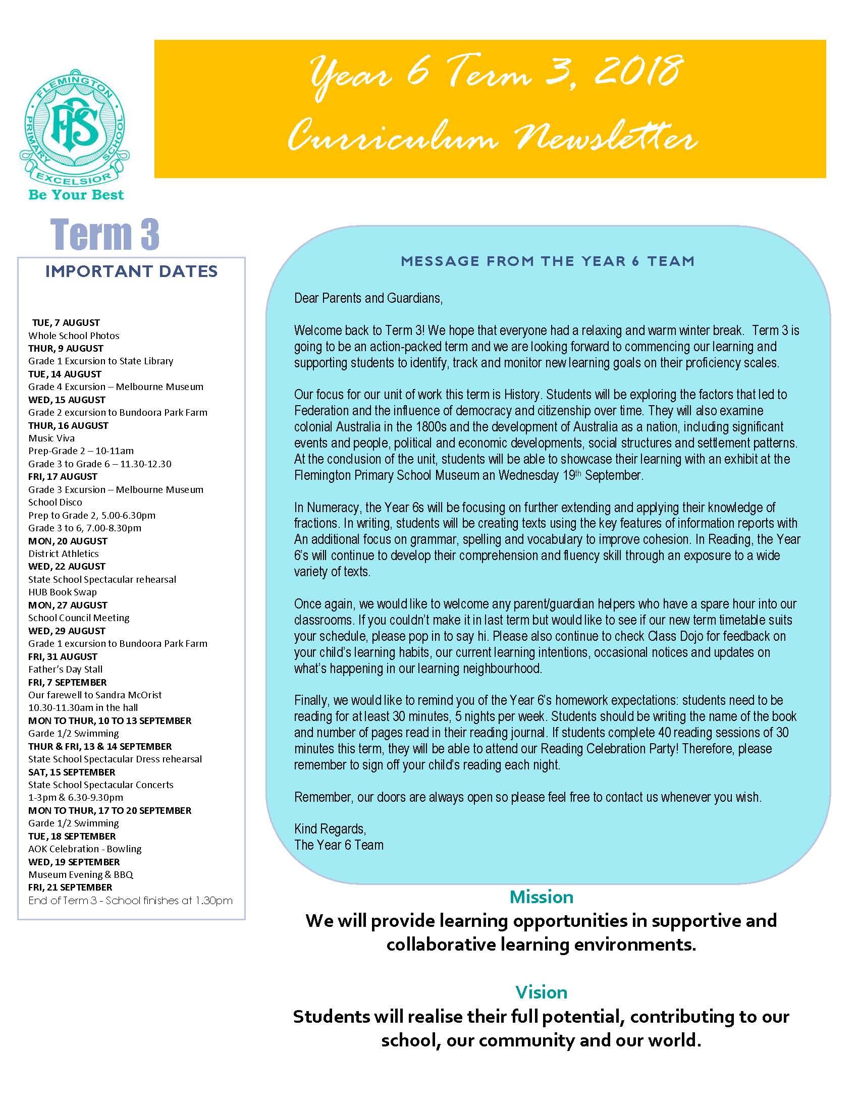 Year 6 Newsletter 1